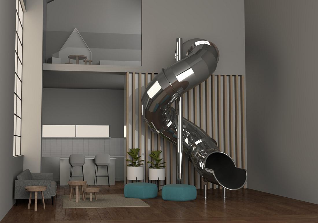 toboggan inox intérieur 3D